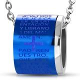 Colgante anillo 02 - fondo azul con cruz