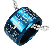 Colgante anillo 14 - azul latin con cruz