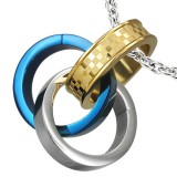 Colgante anillo 16 - Triple amarillo, gris y azul