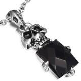 colgante gótico 27 - cráneo y gem negro