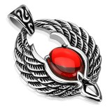 colgante gótico 33 - alas con gem rojo