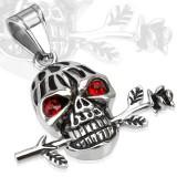 colgante gótico 34 - cráneo ojos rojos y Flor