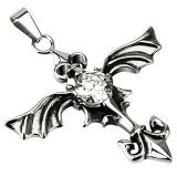 colgante gótico 39 - cruz con alas zircona transparente