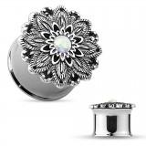 Plug en acero Flor opalite