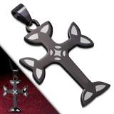 Colgante cruz 004 - negro Bordes gris