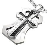 Colgante cruz 010 - negro y grise love