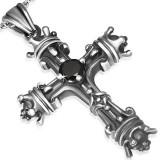 Colgante cruz 014 - medieval zircona negro