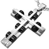 Colgante cruz 020 - cilindros negros