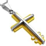 Colgante cruz 021 - amarillo centro gris