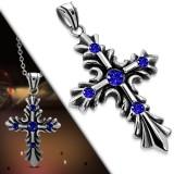 Colgante cruz 029 - medieval strass azuls