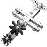 Colgante cruz 032 - dos Flors negros