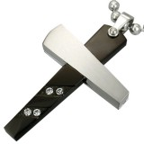 Colgante cruz 039 - negro cuatro strass y grise