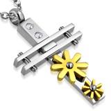 Colgante cruz 040 - Flors amarillos