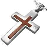 Colgante cruz 043 - centro en madera
