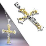 Colgante cruz 062 - Jesus líneas amarillos