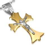 Colgante cruz 063 - amarillo con Jesus gris