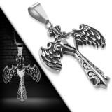 Colgante cruz 073 - alas estilo gótico