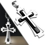 Colgante cruz 076 - tres placas gris y negros