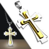 Colgante cruz 077 - tres placas amarillos y negros