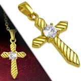 Colgante cruz 085 - Gold-ip estriadoe