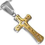 Colgante cruz 086 - amarillo sobre gris A
