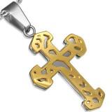 Colgante cruz 087 - amarillo sobre gris B