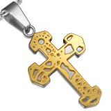 Colgante cruz 088 - amarillo sobre gris C