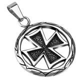 Colgante cruz 142 - cruz maltesa en círculo