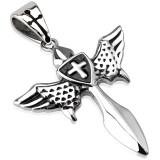 Colgante cruz 108 - alas y escudo