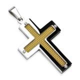 Colgante cruz 116 - fibra de carbono amarillo