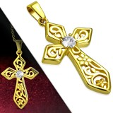 Colgante cruz 122 - Gold-ip Flor zircona ronda