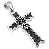 Colgante cruz 134 - Flor de lys centro negro