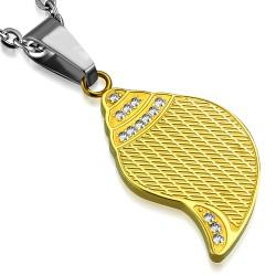 colgante acero 02 - hoja amarillo strass