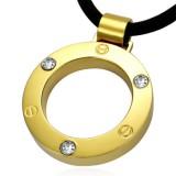 colgante acero 12 - círculo amarillo strass