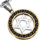 colgante acero 15 - estrella de David círculo amarillo