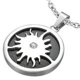 colgante acero 40 - círculo negro sol