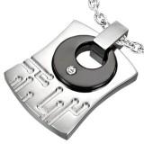 colgante acero 48 - placa con círculo negro