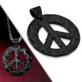 colgante acero 74 - Peace and love negro