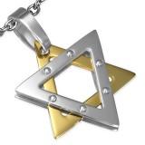 colgante acero 89 - estrella de David grise y amarillo