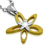 colgante acero 96 - Flor amarillo satén