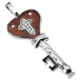colgante acero 108 - clave con madera B