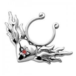Falso-piercing de teton 05 - corazón y llamas