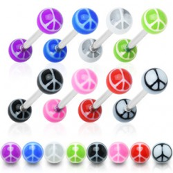 Piercing lengua UV 24 - Peace and love
