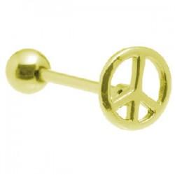 Piercing lengua chapado-oro 04 - Peace and love