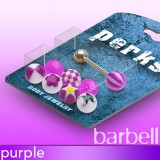 Pack de piercings lenguas 01 - Bolas UV lilas