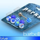Pack de piercings lenguas 02 - Bolas UV azules