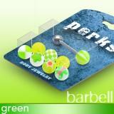 Pack de piercings lenguas 03 - Bolas UV verde-manzanas