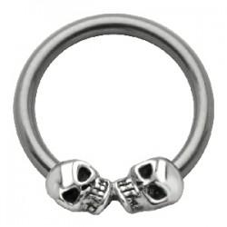 Piercing anillo 1,6mm 34 - dos cráneos