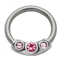 Piercing anillo 1,6mm 38 - tres strass