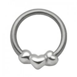 Piercing anillo 1,6mm 41 - tres corazóns